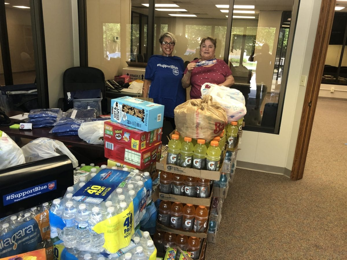 cases of water and sports beverages to support Police