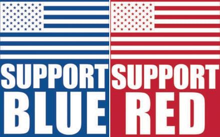 Support Blue & Red Mask Design