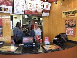Staff and Debbie at Taco Johns
